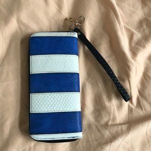 Blue/white striped wristlet